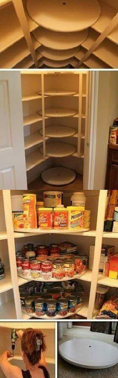 Otima idéia para cantos... Dispensa ou guarda roupas. | Rotating lazy Susan shelves in pantry for food storage.