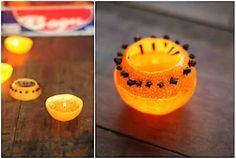 Bougie clou de girofle fait maison avec une orange