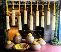 "Especially for smaller venues - Enhancing them using the beautiful flower of Marigold, which symbolises passion and is also called ""herb… Diwali Decorations At Home, Wedding Stage Decorations, Festival Decorations, Desi Wedding Decor, Wedding Mandap, Wedding Ideas, Wedding Garlands, Telugu Wedding, Wedding Receptions"