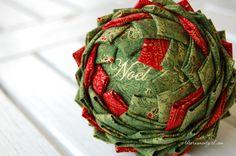 Pinecone ornament pattern | Folded fabric pine cone ornament | How to make a quilted pinecone ornament