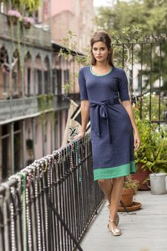 """Here's another fun summer dress that's more casual! But would fit well if you're making a """"green"""" capsule wardrobe! Bourbon Street Dress Navy and Green"""
