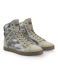 HOGAN REBEL Women's Spring - Summer 2013 collection: nubuck High-Top sneakers R182 with sequined panels.