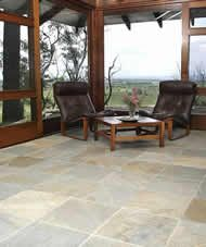 """SOFALA QUARTZITE Sofala Surfaces don't tend to show the dirt. """"The Sofala floor gets dirty but you don't notice it - the grey and gold colour disguises it beautifully"""". This make cleaning and maintenance less stressful."""
