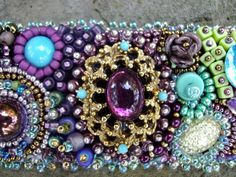 Bead embroidered bracelet with brooch focal.