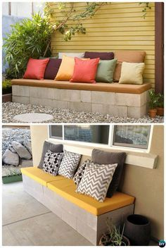 #DIY Cinder Block Garden Bench-10 Simple Cinder Block Garden Projects #Outdoor