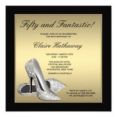 Elegant black and gold glitter high heel shoes woman's 30th 40th 50th 60th 70th 75th birthday party invitations. Description from pinterest.com. I searched for this on bing.com/images