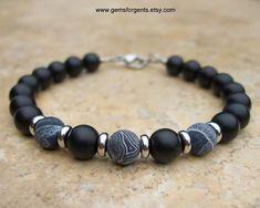 Matte Black Crackle Agate and Matte Black Onyx, Mens Beaded Bracelet, Mens Jewelry - B7