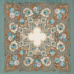 "Russian Pavlovsky Posad shawl ""Amber evening"" ""Янтарный вечер"""
