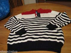 Boys S 8/10 youth stripe Tommy Hilfiger sweater long sleeve navy red off white