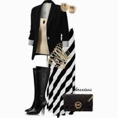 Black, Gold and White Fall Outfit