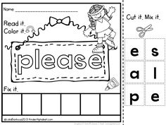 Mix it! Fix it! Students will read, color and fix target words. This is a great way to practice sight words.