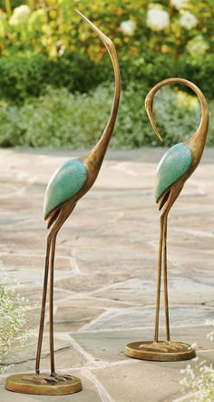 Bring exotic new life to your patio with our sculptural Crane Garden Statues. Though motionless, gracefully arching necks instill each figure with visual energy and movement. Brass-look limbs artfully contrast with handpainted, turquoise wings. Right at home poolside, too. Moss Garden, Garden Oasis, Water Garden, Garden Statues, Garden Sculpture, Peat Moss, Flower Boxes, Beach Themes, Crane