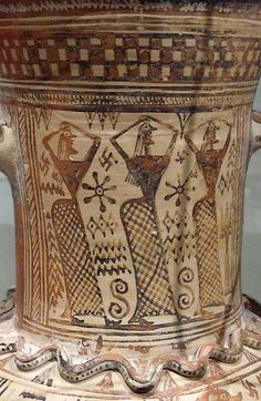 Detail Bronze age Etruscan painted pottery C.1300 BC