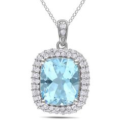 Ice Created White Sapphire, Blue Topaz Sterling Silver Pendant ($185) ❤ liked on Polyvore featuring jewelry, pendants, necklaces, women's accessories, ice pendant, sterling silver charms pendants, ice jewelry, chains jewelry and sterling silver jewelry