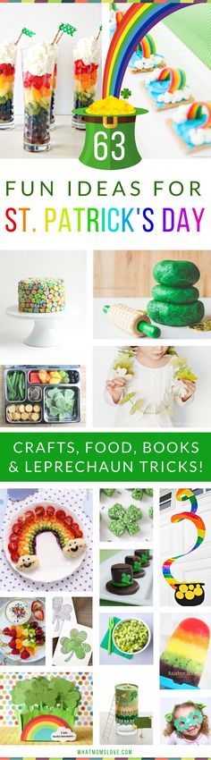 The best St Patricks Day Activities for Kids | Fun St. Patty's Crafts, Festive Food and Snacks, Books, Leprechaun tricks and traps, plus more brilliant ideas to celebrate with shamrocks and rainbows galore! Great ideas for toddlers, preschoolers and up. For the full list visit www.whatmomslove.com via @whatmomslove