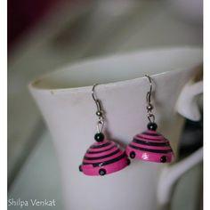 Dark Pink & Black Quilled (paper made) Jhumka