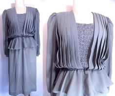 VINTAGE 80s COCO Dress Peplum Pleated Sheer Draped Midi Secretary Dolly