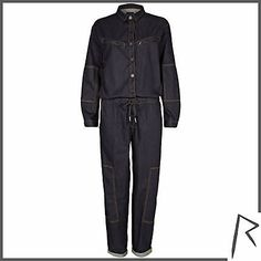 #RihannaforRiverIsland Dark wash Rihanna denim jumpsuit. #RIHpintowin click here for more details >  http://www.pinterest.com/pin/115334440431063974/