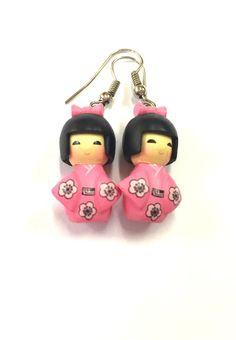 Kawaii Japanese Kokeshi Doll Earrings by YogiYoAccessories on Etsy Funky Earrings, Etsy Earrings, White Cherry Blossom, Kokeshi Dolls, Kawaii, Japanese, Christmas Ornaments, Holiday Decor, Cute