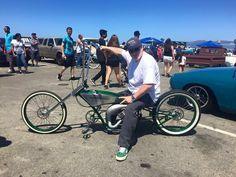Norm on the NoName Customs chopper, motorized bicycle, piston bike, Gasbike, built by Venice Motor Bikes