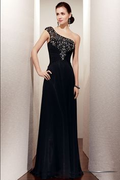 Soft flowing chiffon floor-length gown has intricate beadwork throughout  bodice. One-shoulder cap sleeve extends to thin beaded strap ... e3ba8cc8ee34
