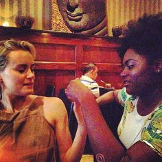 "When Taylor Schilling and Danielle Brooks had dinner together and did something with their hands. | 28 Times The Cast Of ""Orange Is The New Black"" Was Adorable Together On Instagram"