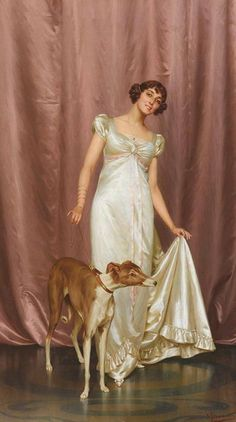 Parti Greyhound in a painting of Vittorio Reggianini (1858-1938), called Good Companions.