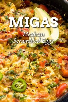 Migas (Scrambled Eggs with Crispy Tortillas) Migas – The ultimate savory breakfast. Migas is an egg casserole mixed with tortilla strips and peppers. This super easy and quick breakfast will be a new favorite with the whole family. Mexican Breakfast Recipes, Savory Breakfast, Breakfast Dishes, Brunch Recipes, Mexican Food Recipes, Gourmet Recipes, Cooking Recipes, Healthy Recipes, Mexican Breakfast Casserole