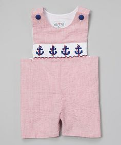 Look what I found on #zulily! Red Anchor Smocked John Johns - Infant & Toddler by Molly Pop Inc. #zulilyfinds