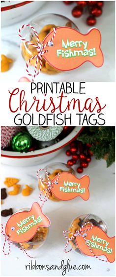 Goldfish Christmas Ornament Tag Printable. Fill up plastic ornaments with Goldfish crackers and attach tag. Easy Christmas Kids Craft Idea.