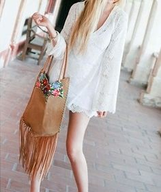 fringe boho bag..used to have a  suede poncho with fringe like this..