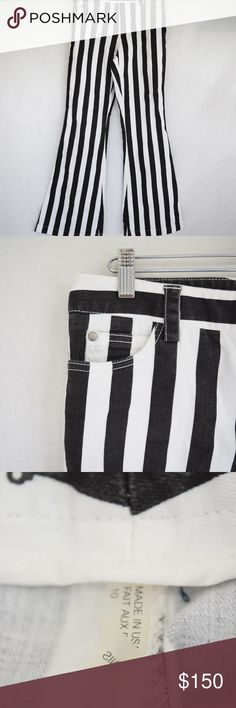 Alice + Olivia Striped Wide Leg Jeans (Sz 10) Alice + Olivia Striped Wide Leg Jeans (Sz 10) Made in USA. High-waisted, wide leg jeans in black and white striped. Some softening & wear from minimal use, some color fading (in photos). Dry clean only. **Modeled pic is stock photo** Alice + Olivia Jeans Flare & Wide Leg