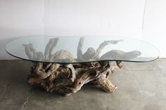 """Sculptural burl root base with thick, freeform glass top, circa 1960s. Excellent example of the organic modernism movement that will be an object of practicality and interest in any interior.Excellent condition with very minor scratches on glass.Measures 59"""" at its longest, 32"""" at widest, and 15"""" tall.Free local pick up in San Diego.  Affordable private delivery to LA/Palm Springs and surrounding, please inquire.  All other locations, shipping via freight.  Pl..."""