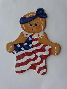 Gingerbread Fridge Magnet~Americana~Flag