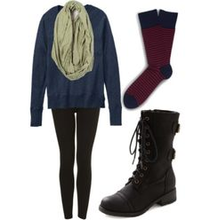 Stay warm in this cozy ensemble #boots #scarf #fall