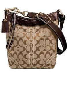 COACH designer handbags Signature Medium Duffle Crossbody in Black 10403 designer purses This designer handbag is constructed of COACH monogram Khaki canvas and brown.beige leather trim with brass har