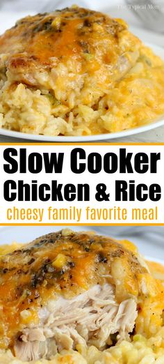 Crockpot cheesy chicken and rice casserole is a family favorite Tender chicken thighs broccoli and perfectly cooked rice smothered with cheese of course crockpot slowcooker chickenandrice chickenthighs chicken rice Slow Cooker Huhn, Slow Cooker Recipes, Crockpot Recipes, Cooking Recipes, Meal Recipes, Easy Crockpot Meals, Recipies, Healthy Recipes, Kitchen Recipes