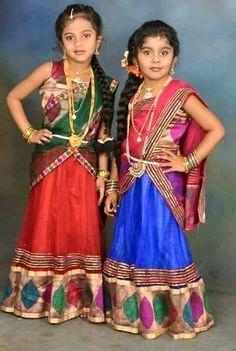 Girls cute in HAlf Sarees