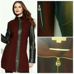 Shop Women's Michael Kors size L Jackets & Coats at a discounted price at Poshmark. Description: 100% AUTHENTIC Michael Kors Burgundy Wool Leather Mixed Media Coat w/quilted leather sleeves & trim.. Sold by amaryst. Fast delivery, full service customer support.