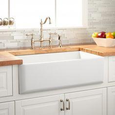 "33"" Grigham Reversible Farmhouse Sink Smooth Apron - White $799.99"