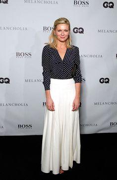 black polka dot top + white maxi skirt