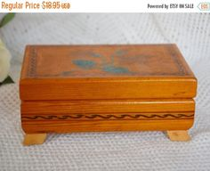 Vintage Wooden Jewelry Trinket Box Footed Light Wood  Hand Painted Flower