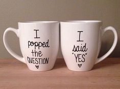His and hers engagement mugs by simplymadegreetings on Etsy