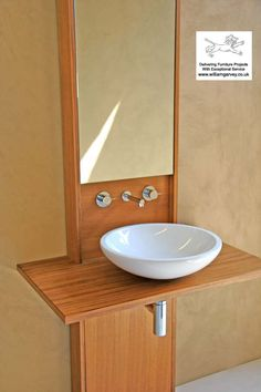 Bespoke teak vanity unit and wash stand with mirror