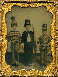 This 1850's daguerreotype shows three boys who represent American history.