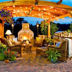 yes please! fireplace, lighting and outdoor kitchen