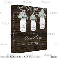 Barnwood Babys Breath Mason Jar Wedding Planner Binder