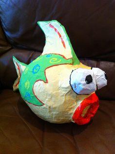 paper mache fish, paper mâché