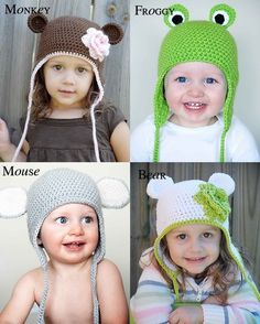 Animal Hat Crochet Patterns Collection 1 Monkey by adrienneengar, $15.00