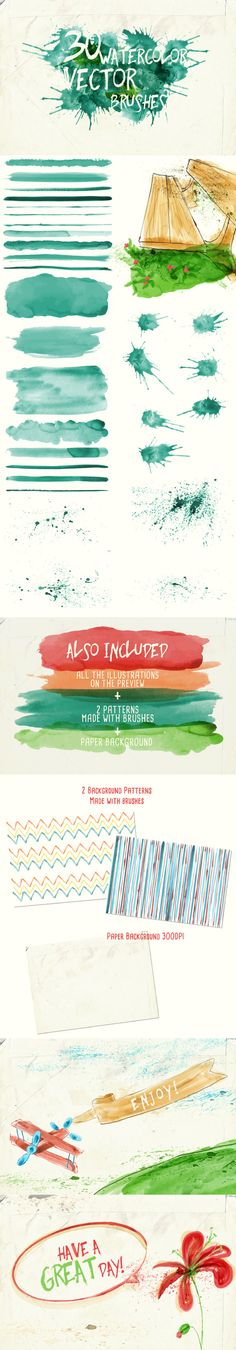 Watercolor Vector Art Brushes - Artistic Brushes